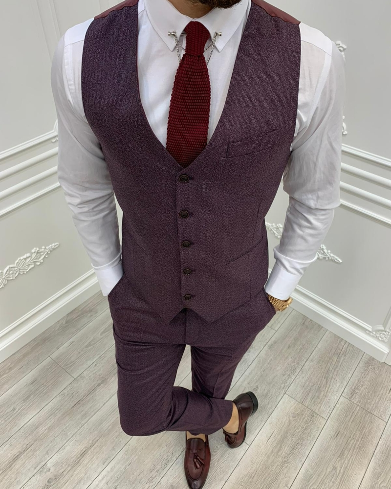Red Slim Fit Suit by GentWith.com with Free Worldwide Shipping