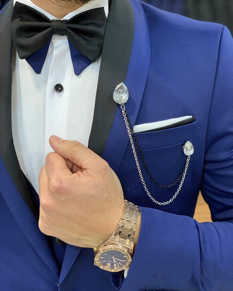 Blue Slim Fit Shawl Lapel Tuxedo by GentWith.com with Free Worldwide Shipping