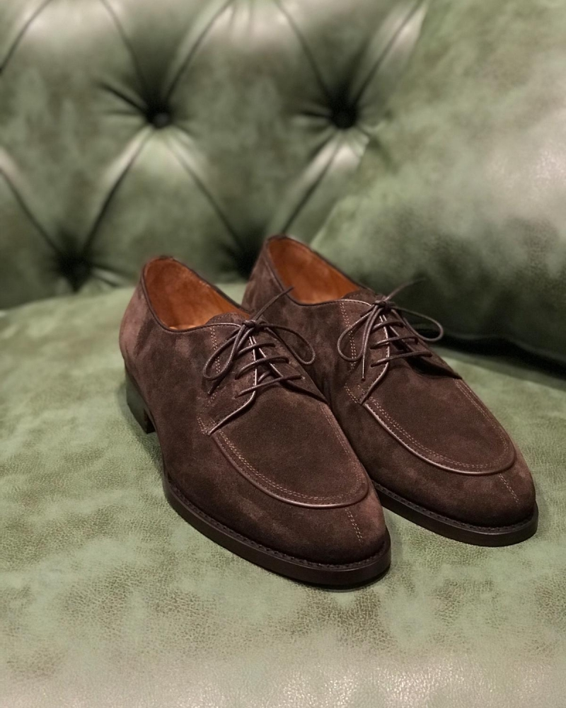 Brown Suede Leather Derby Shoe by GentWith.com with Free Worldwide Shipping