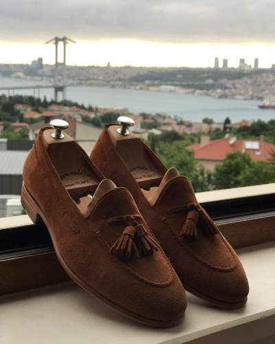 Brown Suede Leather Tassel Loafers by GentWith.com with Free Worldwide Shipping