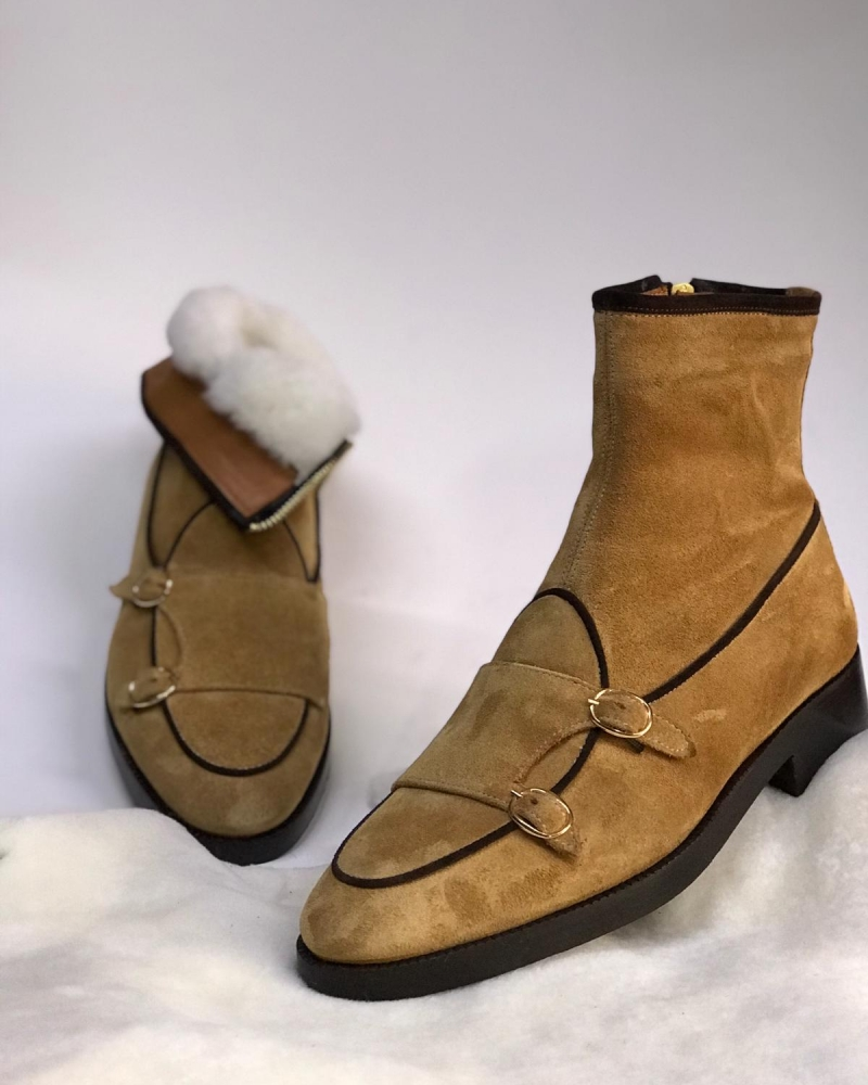 Beige Leather Double Buckle Boots by GentWith.com with Free Worldwide Shipping