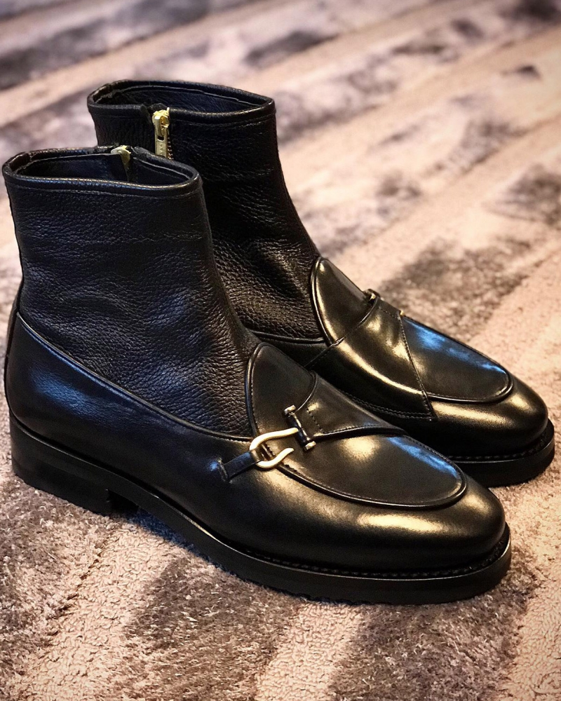 Black Leather Double Buckle Ankle Boots by GentWith.com with Free Worldwide Shipping