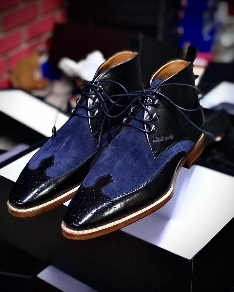Blue Leather Chukka Boots by GentWith.com with Free Worldwide Shipping
