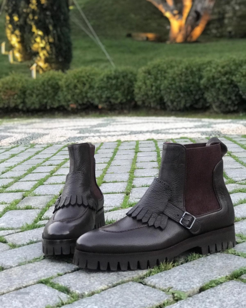 Brown Leather Kilt Chelsea Boots by GentWith.com with Free Worldwide Shipping