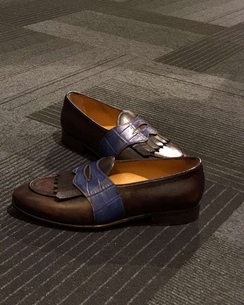 Brown Leather Kilt Loafers by GentWith.com with Free Worldwide Shipping