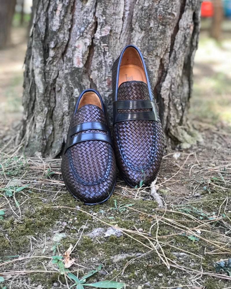 Brown Woven Leather Loafers by GentWith.com with Free Worldwide Shipping