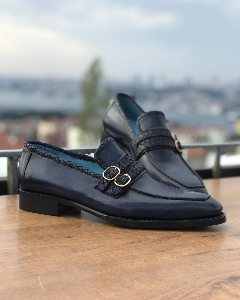 Navy Blue Leather Loafers by GentWith.com with Free Worldwide Shipping