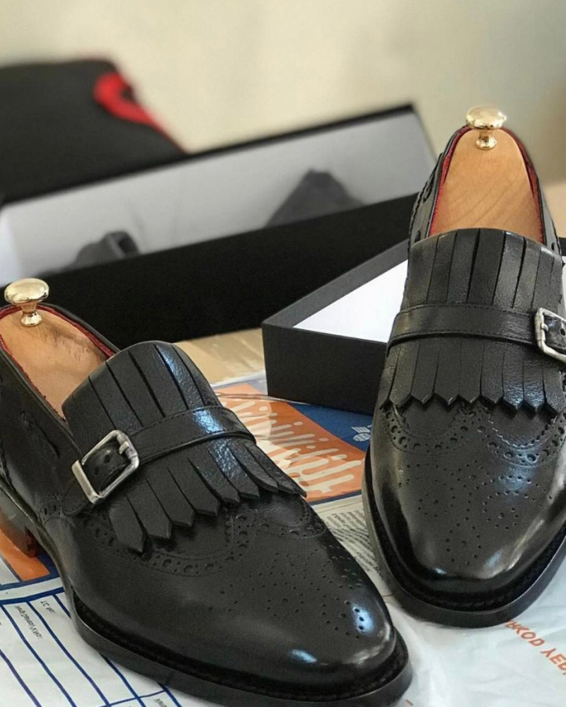 Black Kilt Loafers by GentWith.com with Free Worldwide Shipping