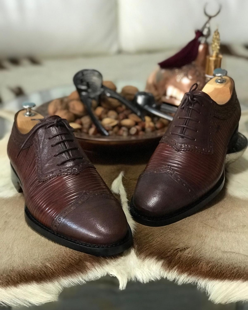 Brown Leather Oxfords by GentWith.com with Free Worldwide Shipping