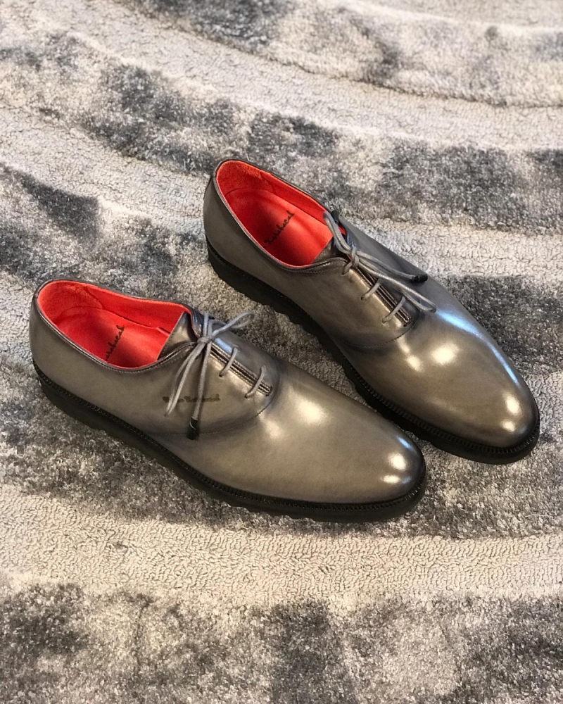 Gray Wholecut Oxfords by GentWith.com with Free Worldwide Shipping