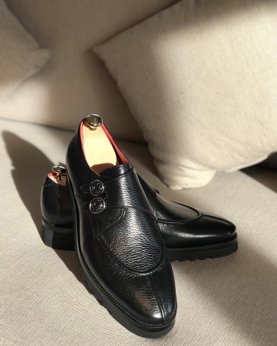 Black Leather Buckle Loafers by GentWith.com with Free Worldwide Shipping