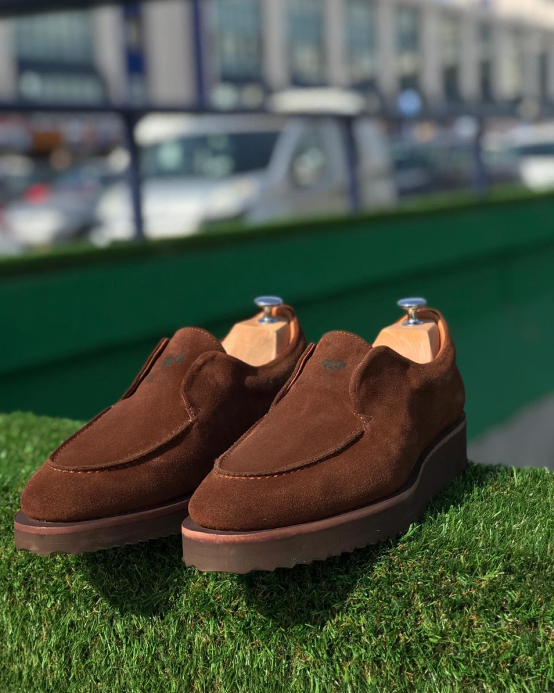Brown Suede Leather Loafers by GentWith.com with Free Worldwide Shipping