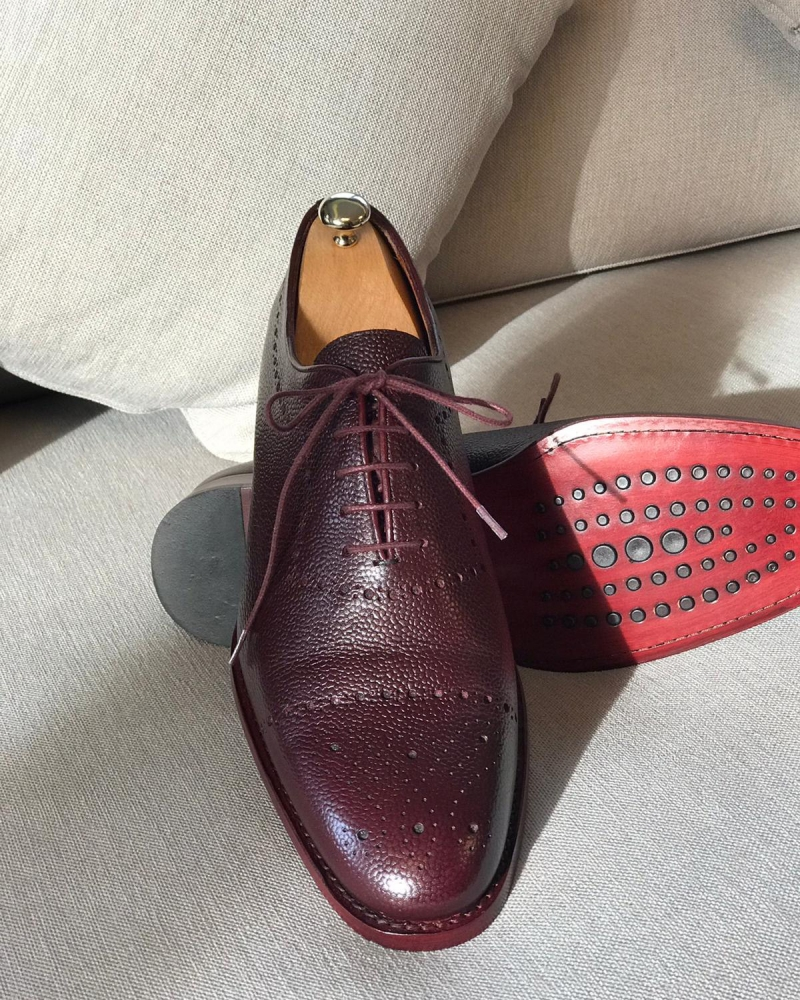 Burgundy Leather Oxfords by GentWith.com with Free Worldwide Shipping