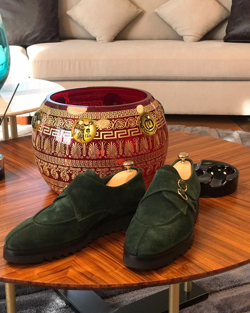 Green Suede Leather Buckle Loafers by GentWith.com with Free Worldwide Shipping