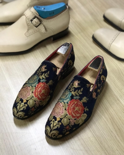 Navy Blue Embroidery Loafers by GentWith.com with Free Worldwide Shipping
