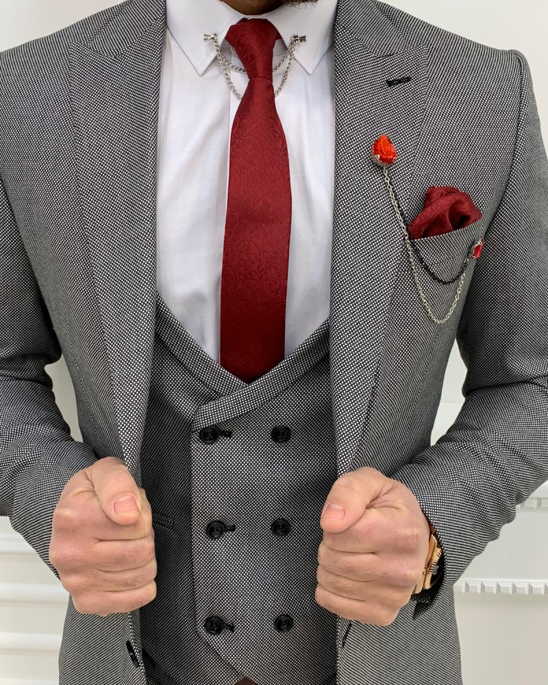 Gray Slim Fit Wool Suit by GentWith.com with Free Worldwide Shipping