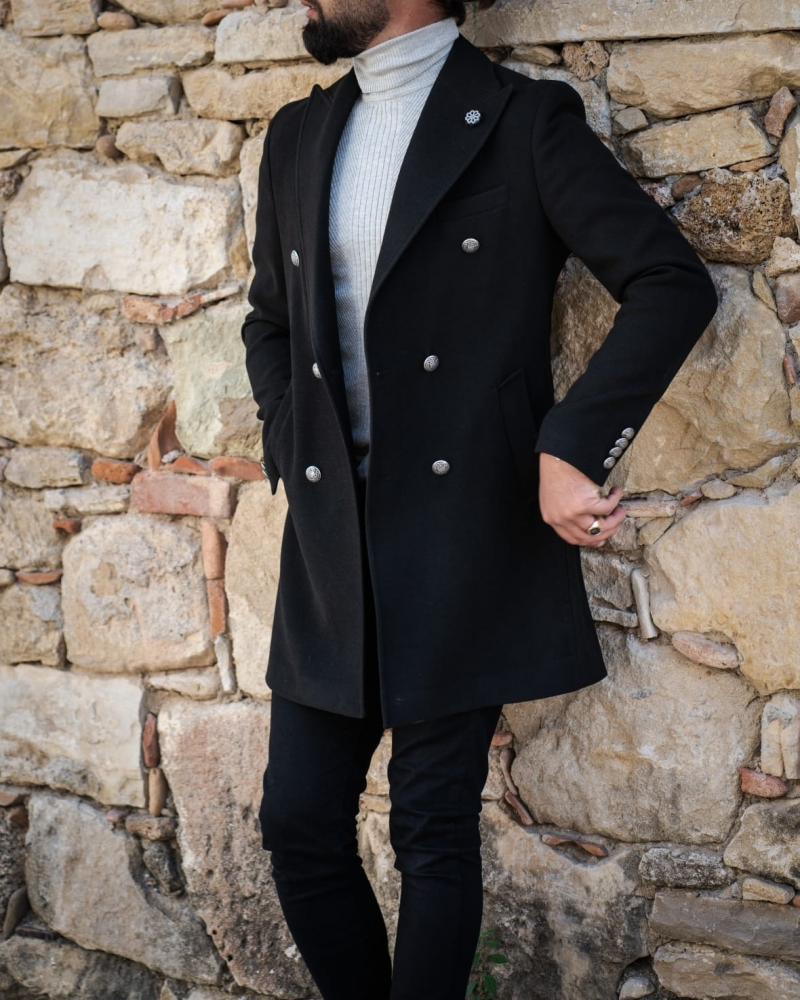 Black Slim Fit Wool Long Coat by GentWith.com with Free Worldwide Shipping
