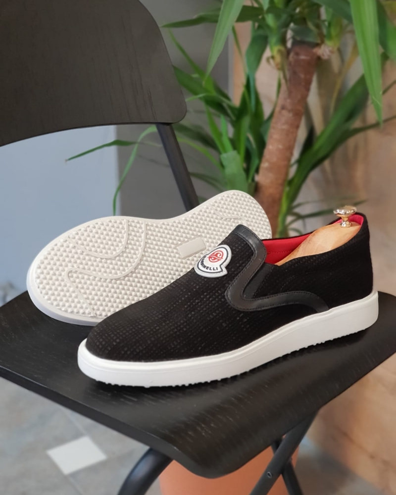 Black Slip On Sneakers by GentWith.com with Free Worldwide Shipping