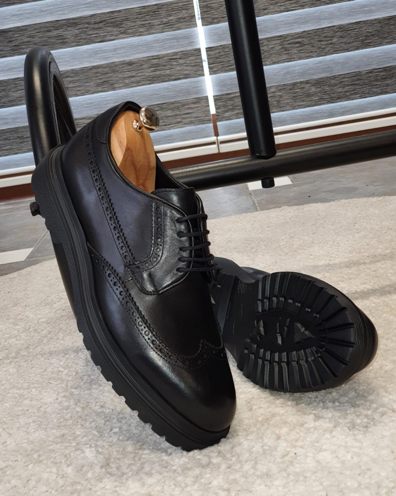 Black Wingtip Oxfords by GentWith.com with Free Worldwide Shipping
