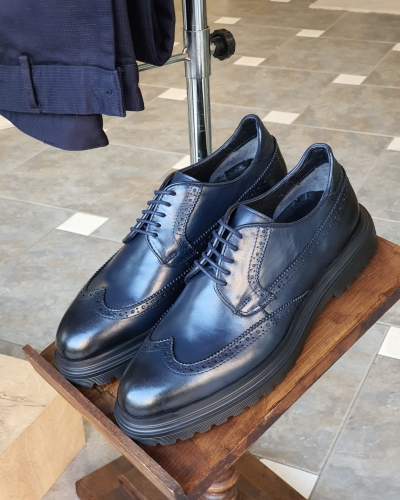 Navy Blue Wingtip Oxfords by GentWith.com with Free Worldwide Shipping