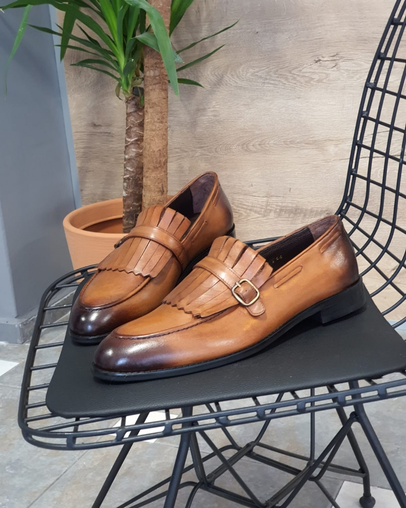 Tan Kilt Loafers by GentWith.com with Free Worldwide Shipping