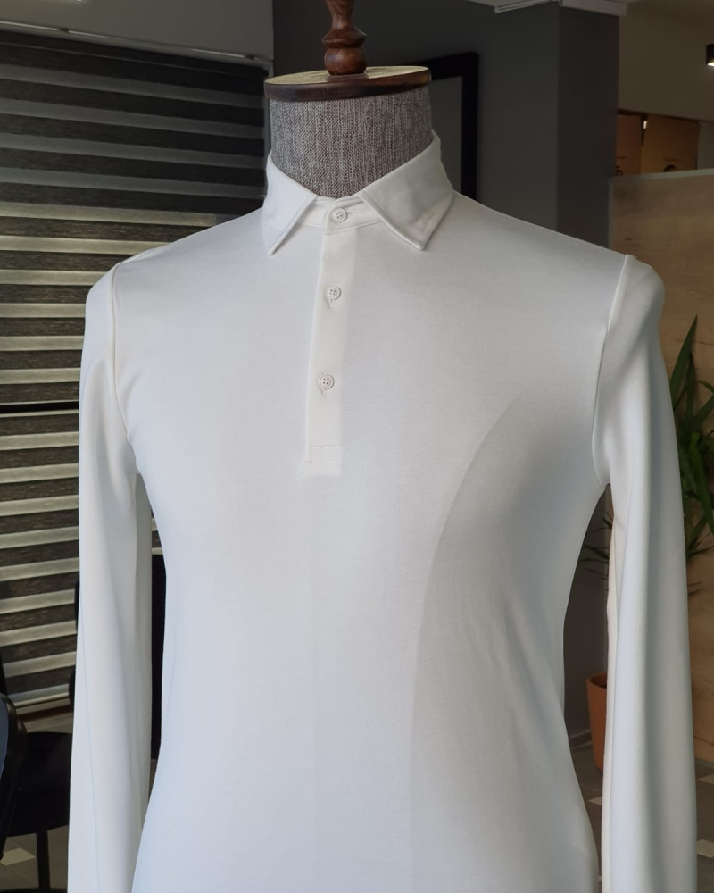 White Slim Fit Combed Polo T-Shirt by GentWith.com with Free Worldwide Shipping