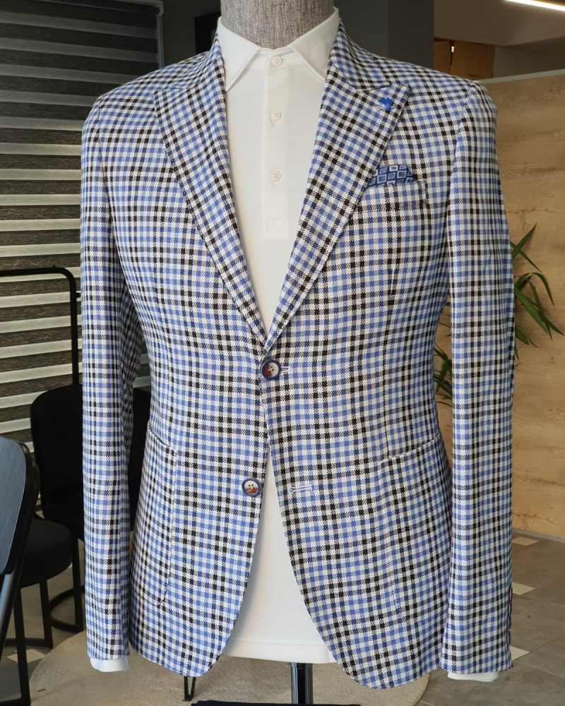 Sax Slim Fit Plaid Suit by GentWith.com with Free Worldwide Shipping
