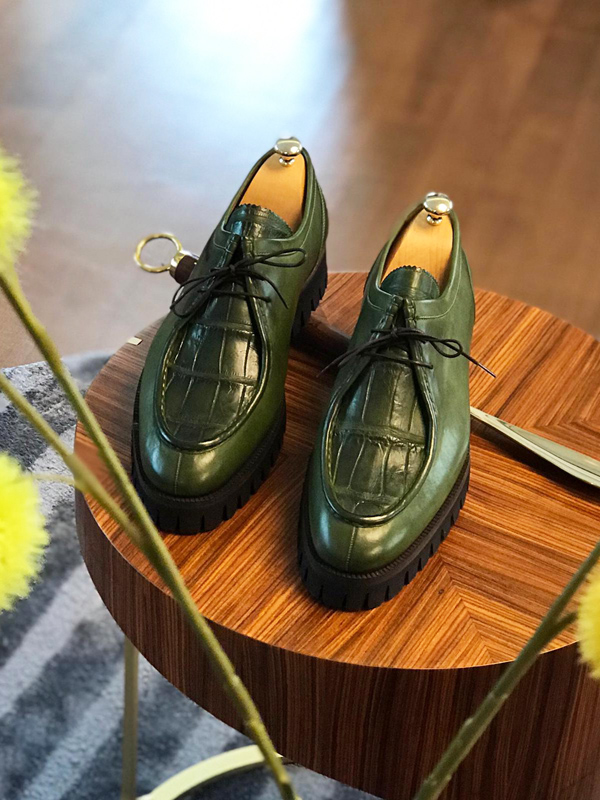 Green Genuine Leather Boots by GentWith.com with Free Worldwide Shipping