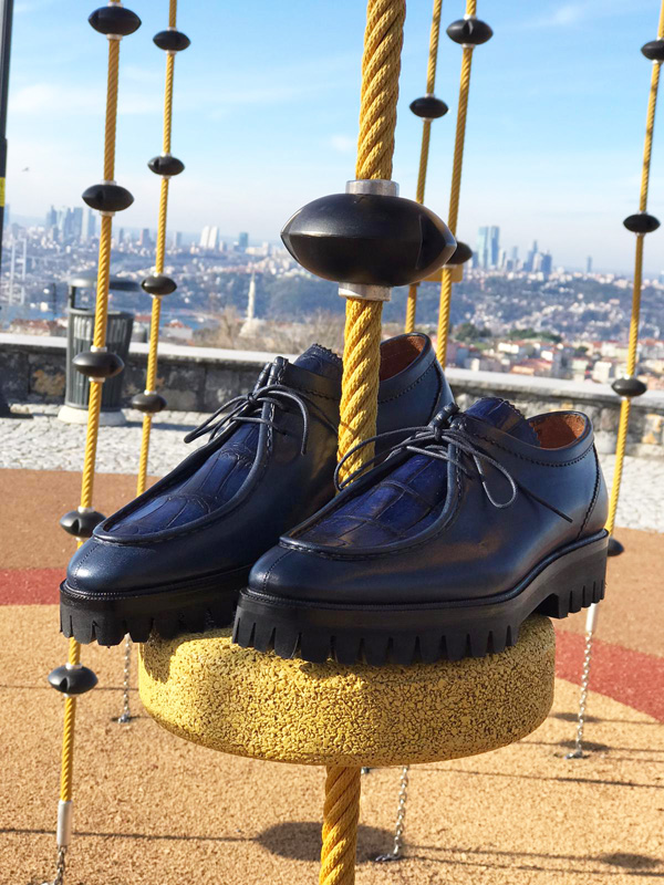 Navy Blue Genuine Leather Boots by GentWith.com with Free Worldwide Shipping