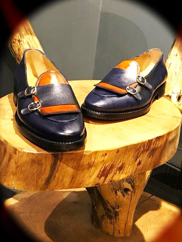 Navy Blue Genuine Leather Monk Strap Kilt Loafers by GentWith.com with Free Worldwide Shipping