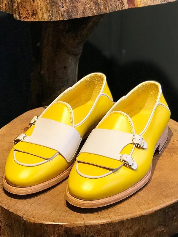 Yellow Genuine Leather Monk Strap Kilt Loafers by GentWith.com with Free Worldwide Shipping