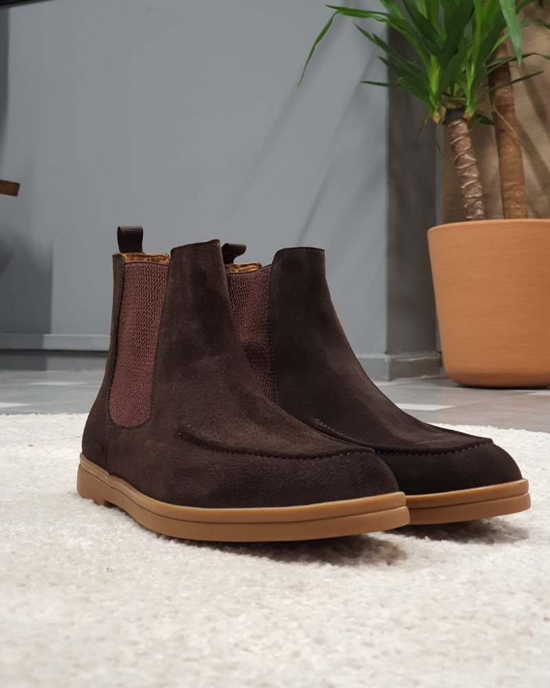 Brown Suede Chelsea Boots by GentWith.com with Free Worldwide Shipping
