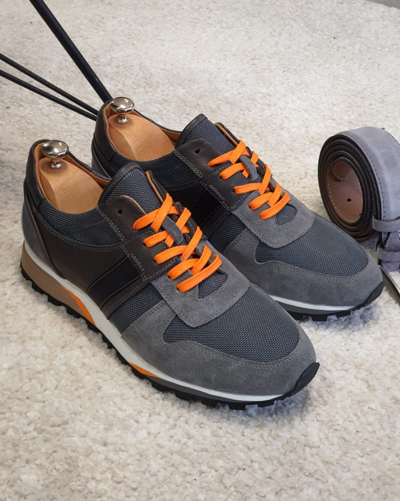 Gray Suede Leather Mid-Top Sneakers by GentWith.com with Free Worldwide Shipping