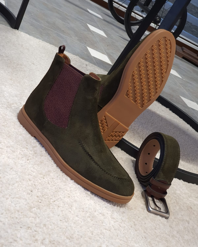 Green Suede Chelsea Boots by GentWith.com with Free Worldwide Shipping