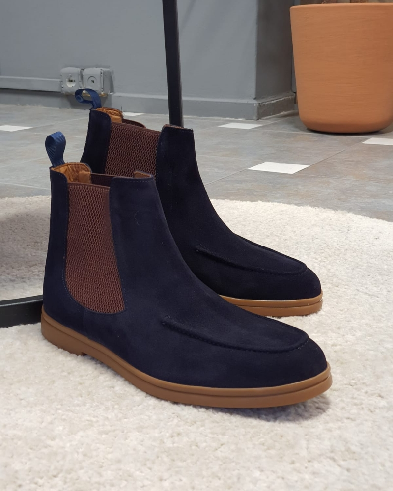 Navy Blue Suede Chelsea Boots by GentWith.com with Free Worldwide Shipping