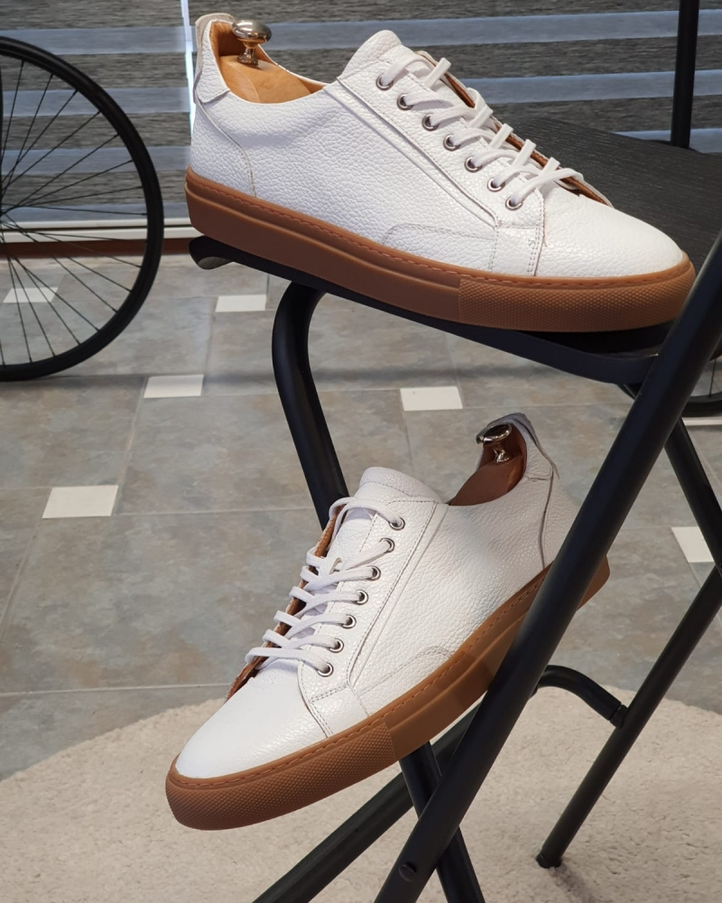 White Low-Top Sneakers by GentWith.com with Free Worldwide Shipping