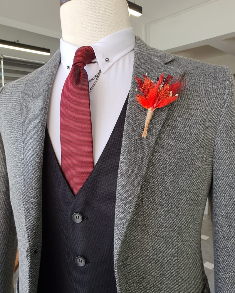 Gray Slim Fit Suit by GentWith.com with Free Worldwide Shipping