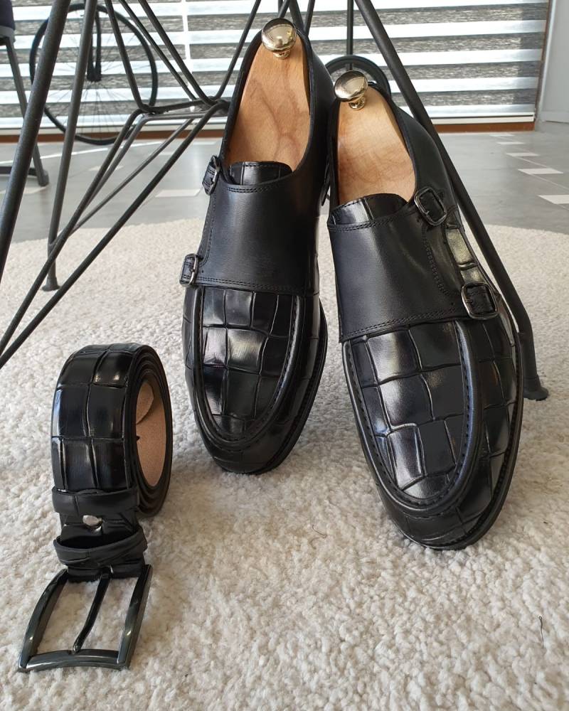 Black Monk Strap Loafers by GentWith.com with Free Worldwide Shipping