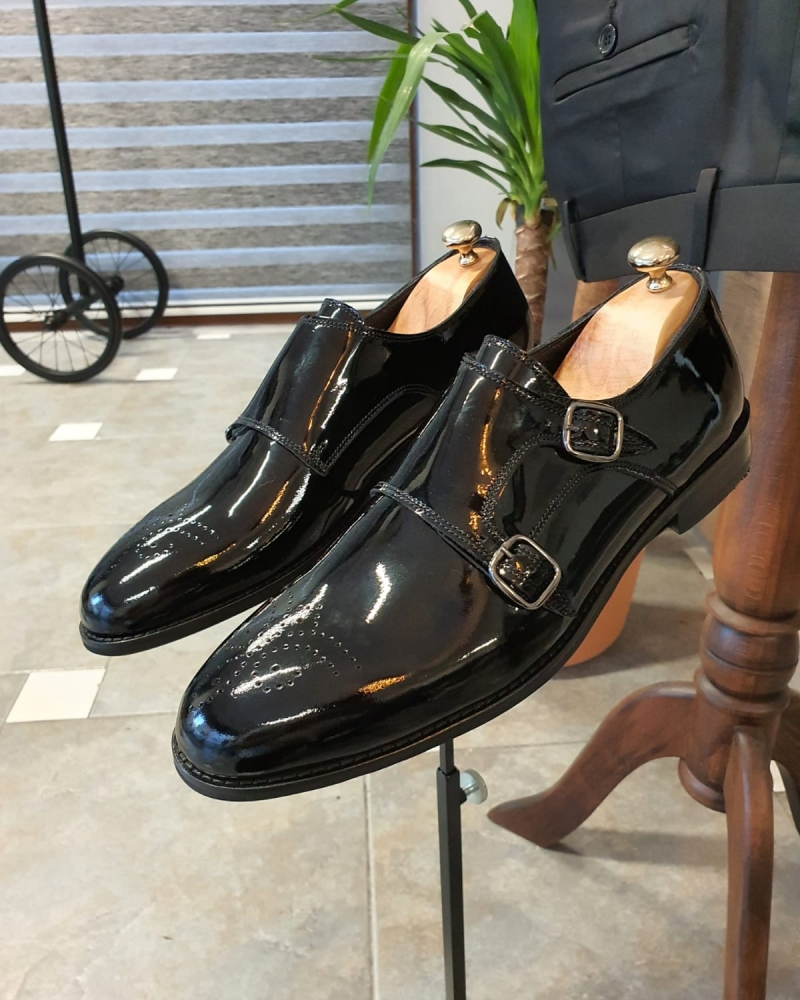 Black Patent Leather Monk Strap Shoes by GentWith.com with Free Worldwide Shipping