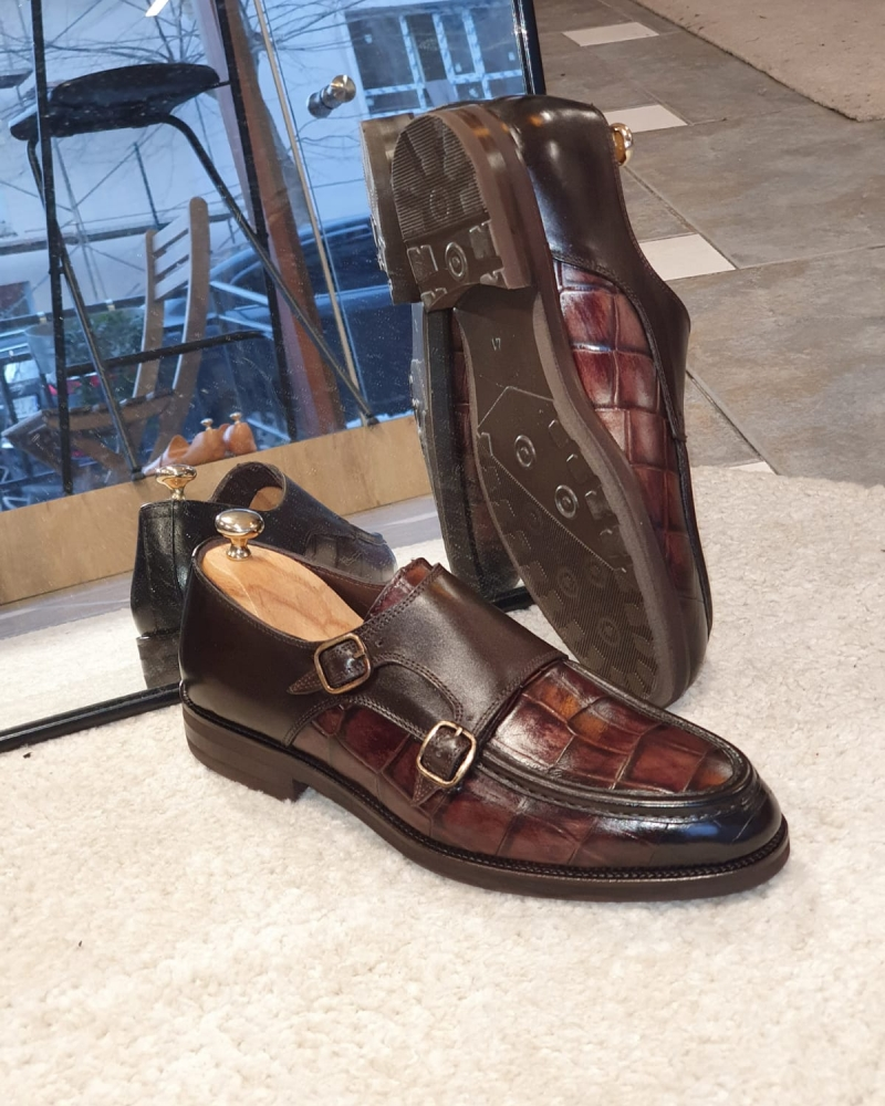 Brown Monk Strap Loafers by GentWith.com with Free Worldwide Shipping