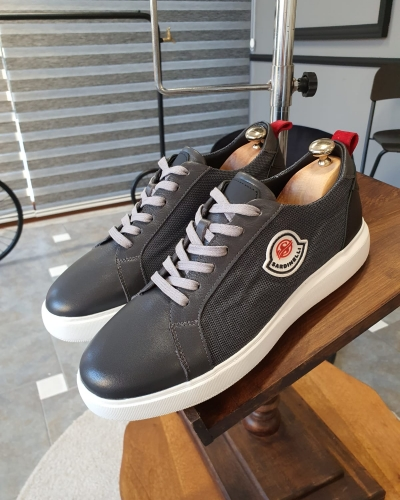 Gray Mid-Top Sneakers by GentWith.com with Free Worldwide Shipping