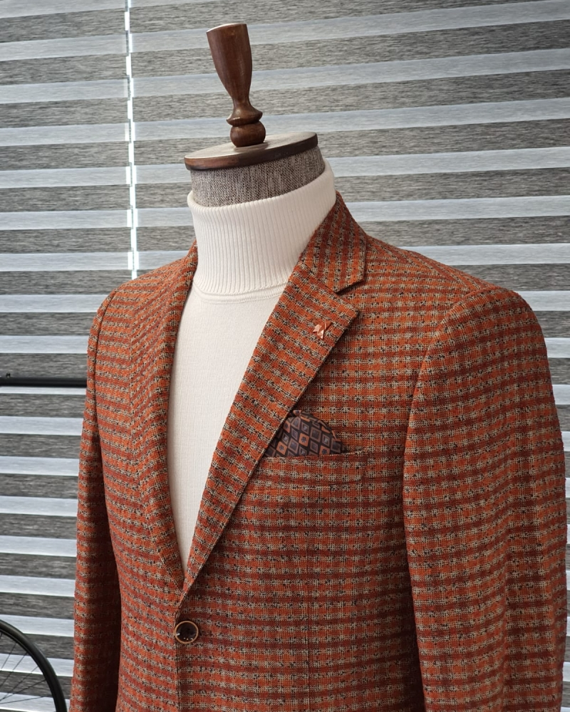 Tile Slim Fit Plaid Wool Blazer by GentWith.com with Free Worldwide Shipping