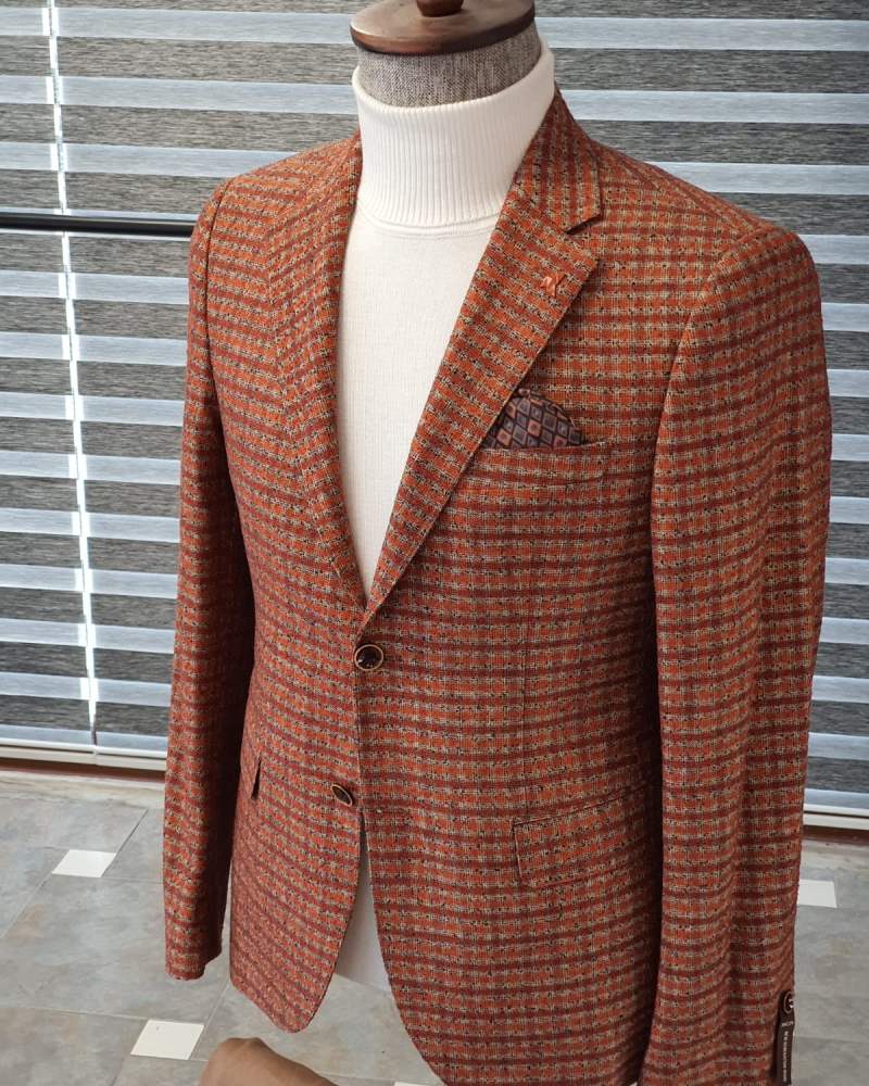 Tile Slim Fit Plaid Wool Suit by GentWith.com with Free Worldwide Shipping