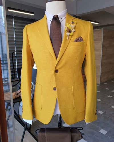 Yellow Slim Fit Cotton Blazer by GentWith.com with Free Worldwide Shipping