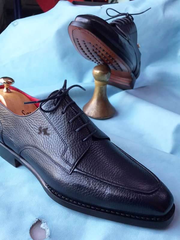 Navy Blue Genuine Leather Derby Shoes by GentWith.com with Free Worldwide Shipping