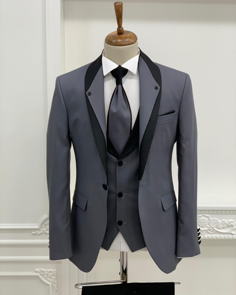 Gray Slim Fit Shawl Lapel Groom Suit by GentWith.com with Free Worldwide Shipping