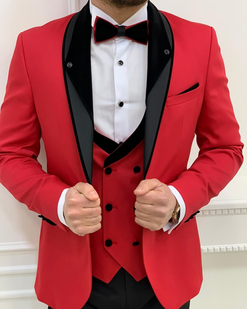 Red Slim Fit Shawl Lapel Tuxedos by GentWith.com with Free Worldwide Shipping