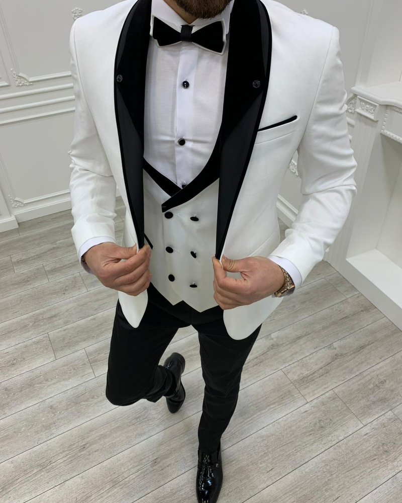 White Slim Fit Shawl Lapel Tuxedos by GentWith.com with Free Worldwide Shipping