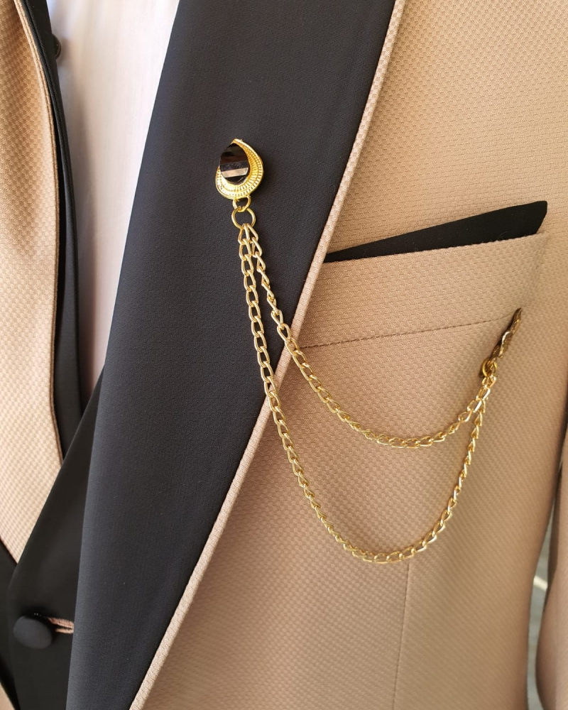 Beige Slim Fit Peak Lapel Wedding Suit by GentWith.com with Free Worldwide Shipping