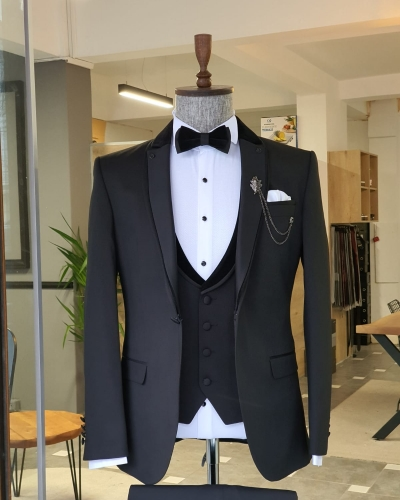 Black Slim Fit Notch Lapel Tuxedo by GentWith.com with Free Worldwide Shipping